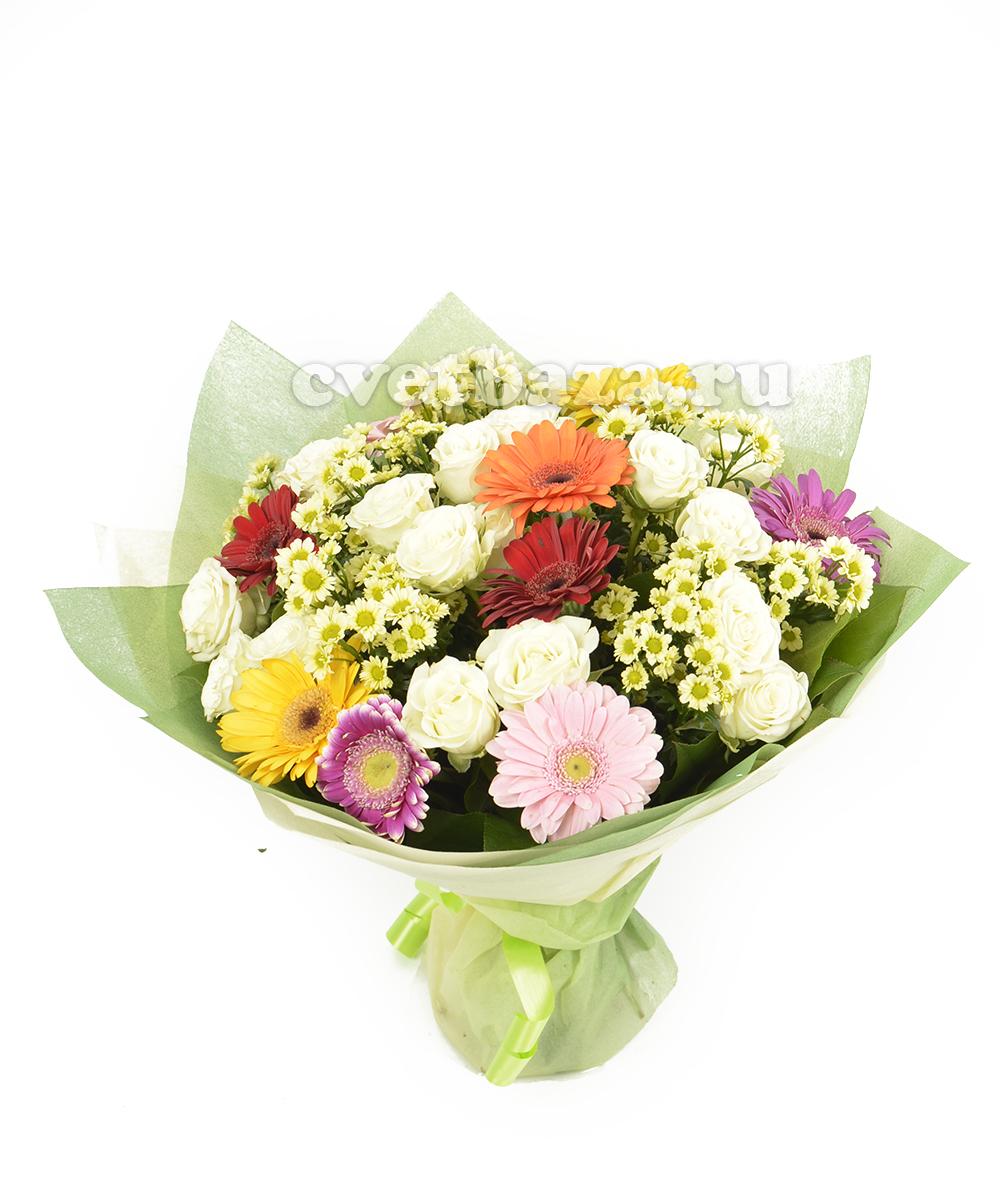 Букет из 113 роз и хризантем видео, цветы оптовая продажа закупки