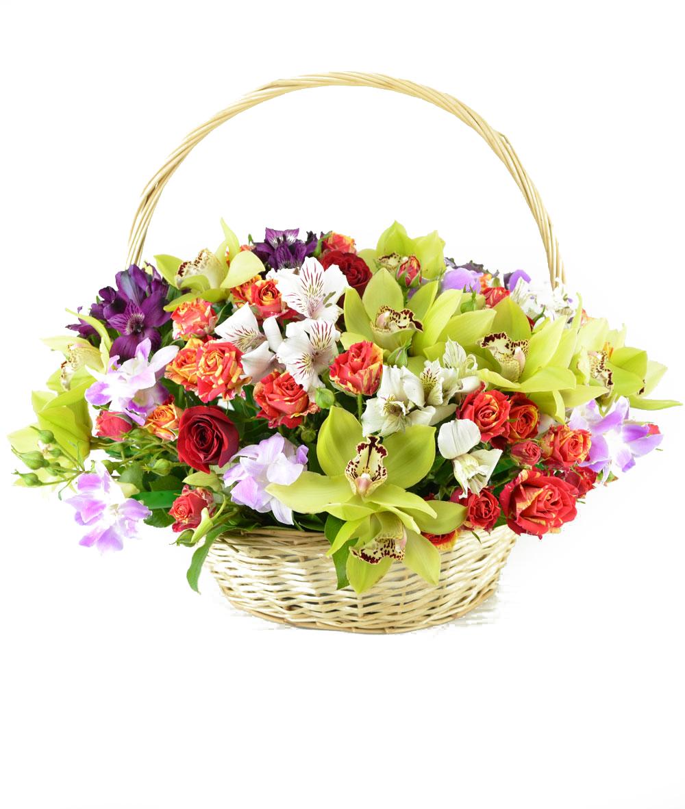Красивый букет цветов в корзине фото